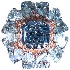 Emilio Jewelry GIA Certified 2.00 Fancy Light Blue Diamond Ring