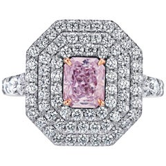 Emilio Jewelry GIA Certified 2.10 Carat Fancy Natural Pink Diamond Ring
