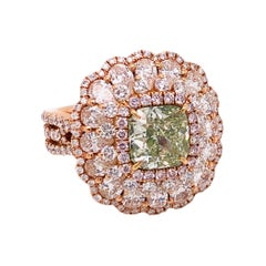 Emilio Jewelry GIA Certified 2.18 Carat Fancy Green Diamond Ring
