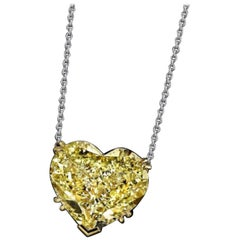 Emilio Jewelry GIA Certified 22.00 Carat Fancy Yellow Heart Diamond Necklace