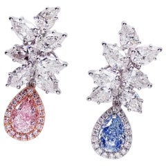 Emilio Jewelry GIA Certified 2.25 Carat Blue and Pink Diamond Earrings