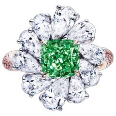 Emilio Jewelry GIA Certified 2.30 Carat Fancy Intense Green Diamond Ring