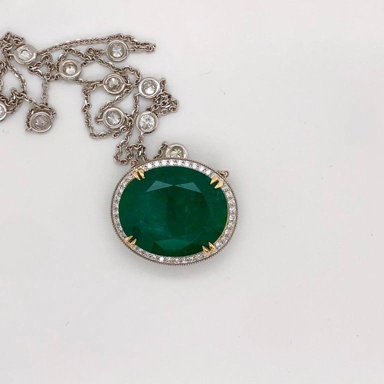 Emilio Jewelry GIA Certified 23.24 Carat Genuine Emerald Diamond Necklace For Sale 7