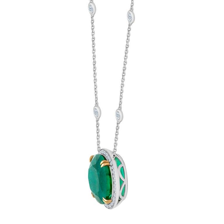 Women's or Men's Emilio Jewelry GIA Certified 23.24 Carat Genuine Emerald Diamond Necklace For Sale