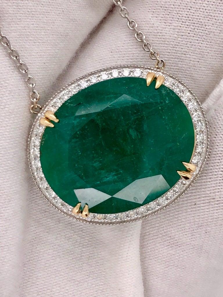Emilio Jewelry GIA Certified 23.24 Carat Genuine Emerald Diamond Necklace For Sale 1