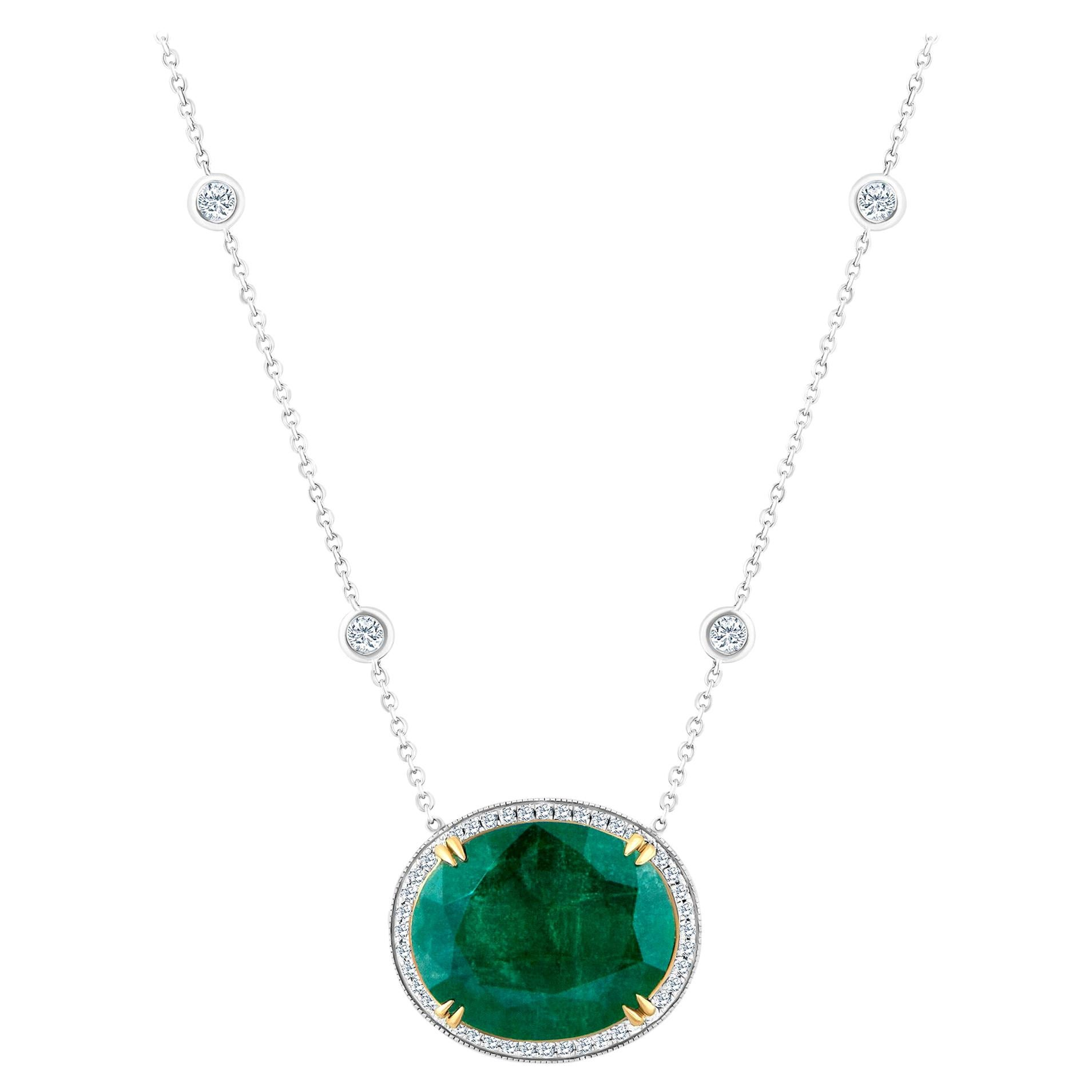 Emilio Jewelry GIA Certified 23.24 Carat Genuine Emerald Diamond Necklace