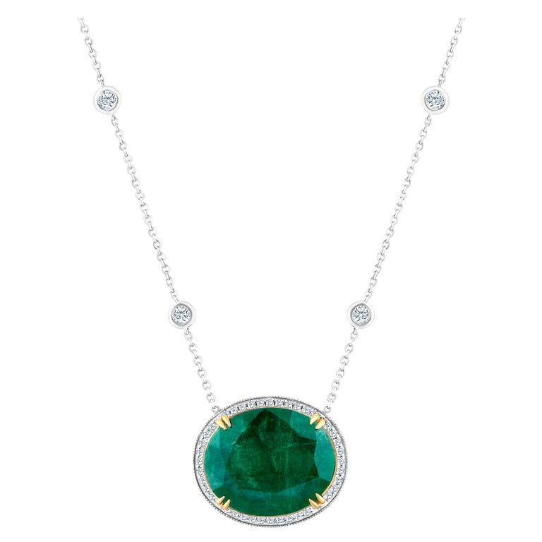 Emilio Jewelry GIA Certified 23.24 Carat Genuine Emerald Diamond Necklace For Sale