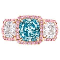 Emilio Jewelry GIA Certified 2.50 Carat Fancy Intense Greenish Blue Diamond Ring