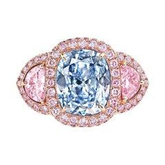 Emilio Jewelry GIA Certified 2.50 Carat Fancy Light Pure Blue Diamond Ring