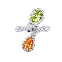 Emilio Jewelry GIA Certified 2.65 Carat Orange and Green Diamond Ring