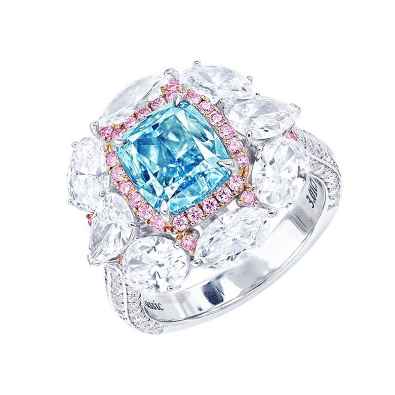 Emilio Jewelry GIA Certified 3.00 Carat Fancy Blue Diamond Ring