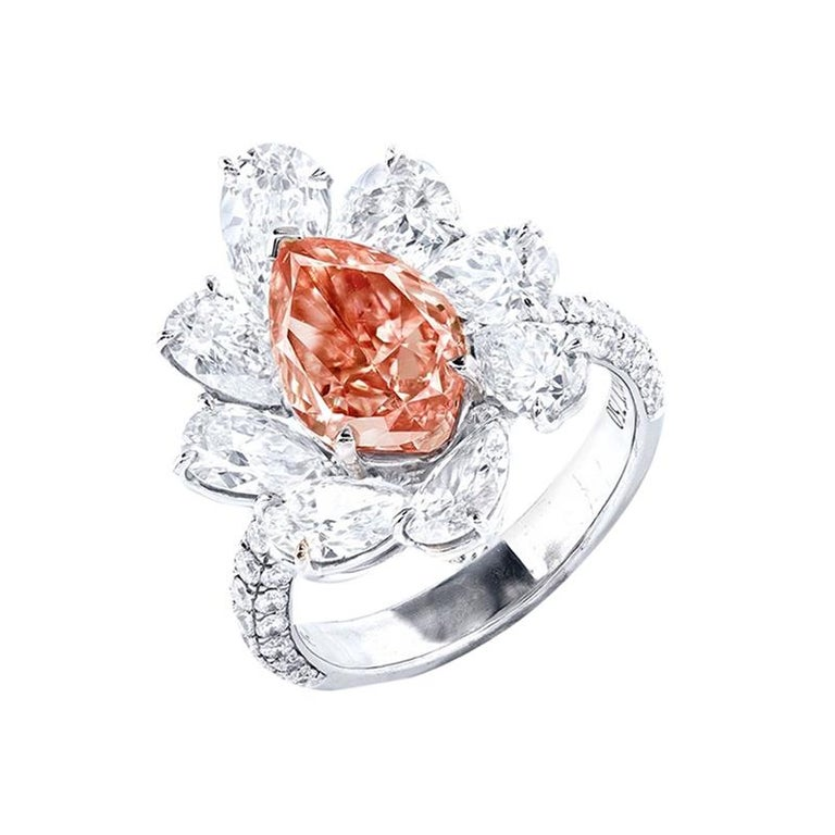 Emilio Jewelry GIA Certified 3.00 Carat Fancy Intense Pink Diamond Ring For Sale