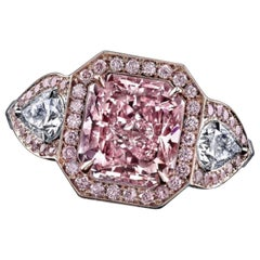 Emilio Jewelry GIA Certified 3.00 Carat Fancy Intense Pink Diamond Ring