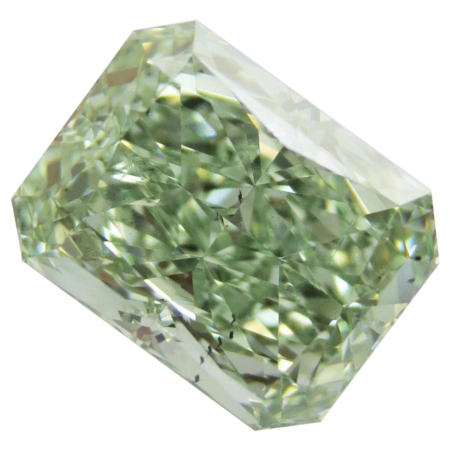 Emilio Jewelry GIA Certified 3.00 Carat Fancy Intense Yellowish Green Diamond