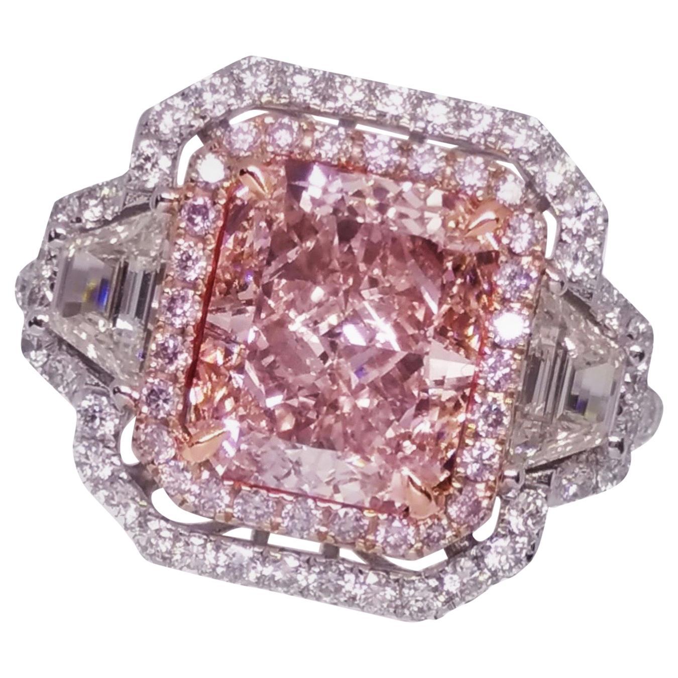 Emilio Jewelry GIA Certified 3.00 Carat Fancy Light Brown Pink Diamond Ring
