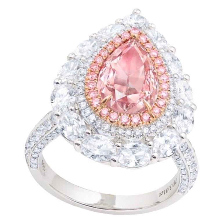 Emilio Jewelry GIA Certified 3.00 Carat Fancy Light Pink
