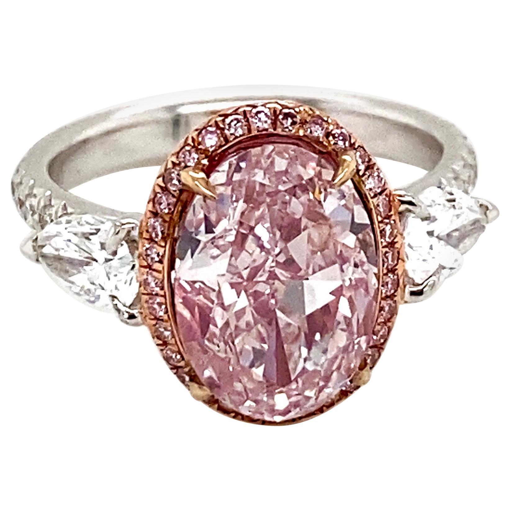Emilio Jewelry GIA Certified 3.00 Carat Fancy Light Pure Pink Diamond Ring