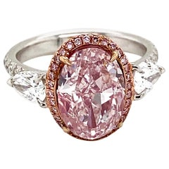 Emilio Jewelry GIA Certified 3.00 Carat Fancy Light Pure Pink Diamond Ring