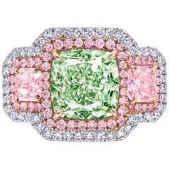 Emilio Jewelry GIA Certified 3.00 Carat Fancy Pure Green Diamond Ring