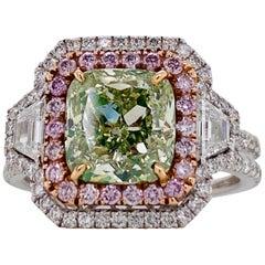 Emilio Jewelry GIA Certified 3.00 Carat Fancy Yellow Green Diamond Ring