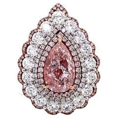 Emilio Jewelry GIA Certified 3.00 Carat Light Pure Pink Diamond Ring and Pendant