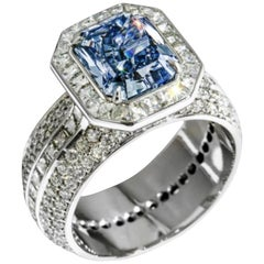 Emilio Jewelry GIA Certified 3.00 Carat Natural Fancy Vivid Blue Diamond Ring