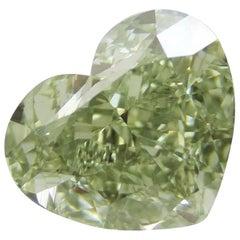 Emilio Jewelry GIA Certified 3.50 Carat Fancy Yellowish Green Diamond Heart