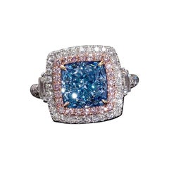 Emilio Jewelry GIA Certified 4.00 Carat Fancy Bluish Green Diamond Ring