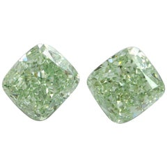 Emilio Jewelry GIA Certified 4.00 Carat Fancy Green Diamond Pair