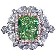 Emilio Jewelry GIA Certified 4.00 Carat Fancy Green Yellow Diamond Ring