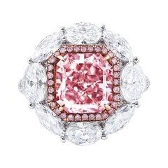 Emilio Jewelry GIA Certified 4.00 Carat Fancy Light Pure Pink Diamond Ring