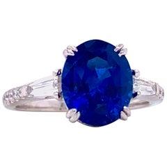 Emilio Jewelry GIA Certified 4.17 Carat Ceylon Sapphire Diamond Ring