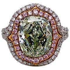 Emilio Jewelry GIA Certified 4.50 Carat Fancy Yellowish Green Diamond Ring