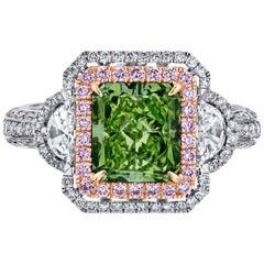 Emilio Jewelry GIA Certified 4.71 Carat Fancy Intense Green Diamond Ring