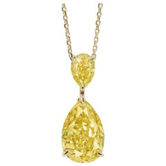 Emilio Jewelry GIA Certified 5.00 Carat Fancy Deep Yellow Diamond Necklace