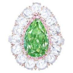 Emilio Jewelry GIA Certified 5.00 Carat Fancy Intense Pure Green Diamond Ring