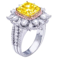 Emilio Jewelry GIA Certified 5.00 Carat Fancy Vivid Yellow Diamond Ring