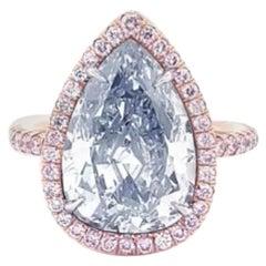 Emilio Jewelry GIA Certified 5.00 Carat Pure Light Blue Diamond Ring