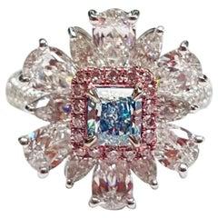 Emilio Jewelry GIA Certified .55 Carat Pure Light Blue Diamond Ring