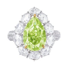 Emilio Jewelry GIA Certified 5.50 Carat Fancy Green Diamond Ring