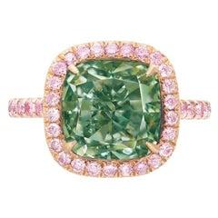 Emilio Jewelry GIA Certified 6.00 Carat Fancy Intense Green Diamond Ring