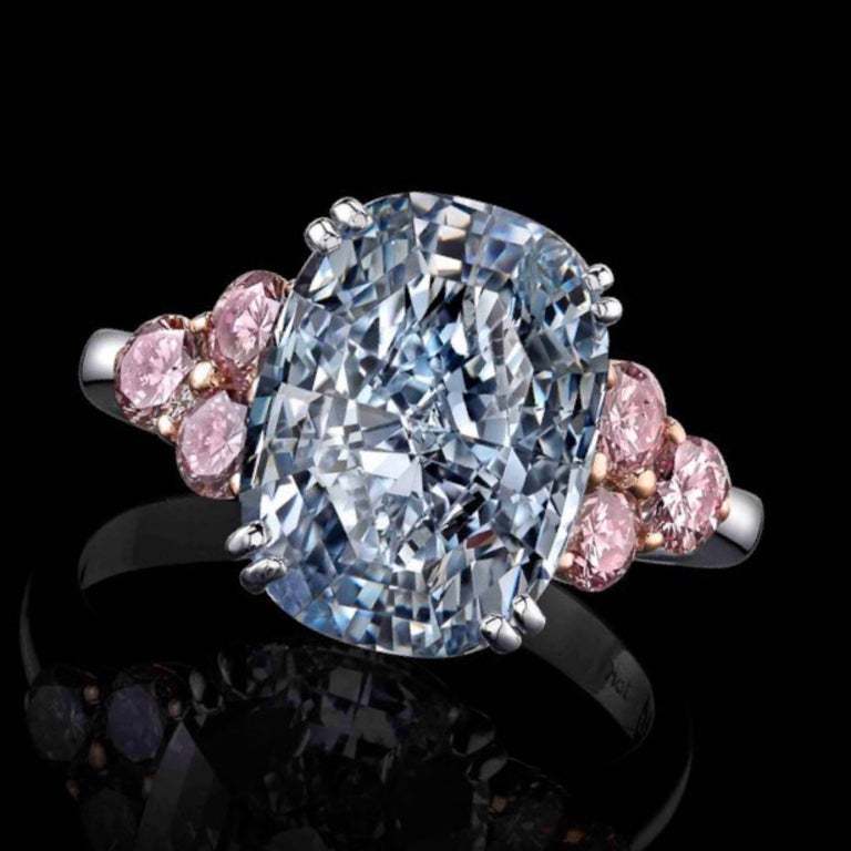 Cushion Cut Emilio Jewelry GIA Certified 6.00 Carat Natural Fancy Blue Diamond Ring For Sale