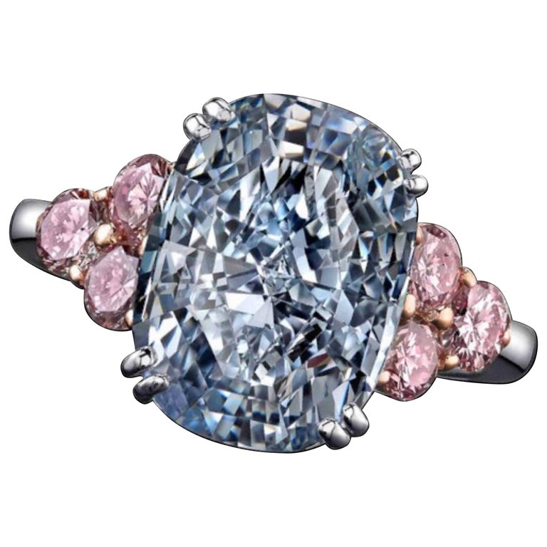 Emilio Jewelry GIA Certified 6.00 Carat Natural Fancy Blue Diamond Ring For Sale