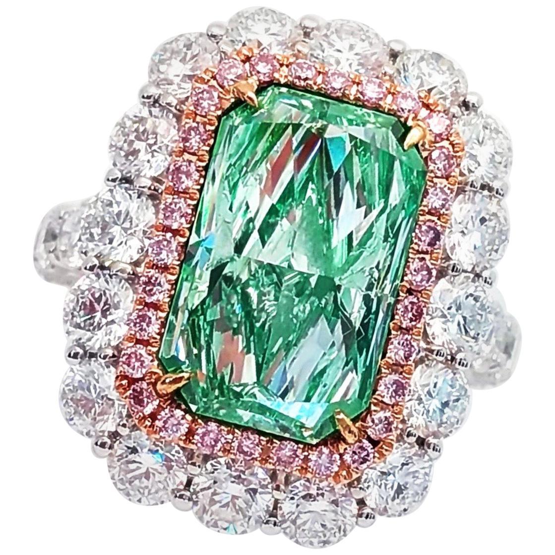Emilio Jewelry GIA Certified 6.35 Carat Fancy Light Green Diamond Ring