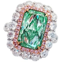Emilio Jewelry GIA Certified 6.35 Carat Fancy Light Green Diamond Ring