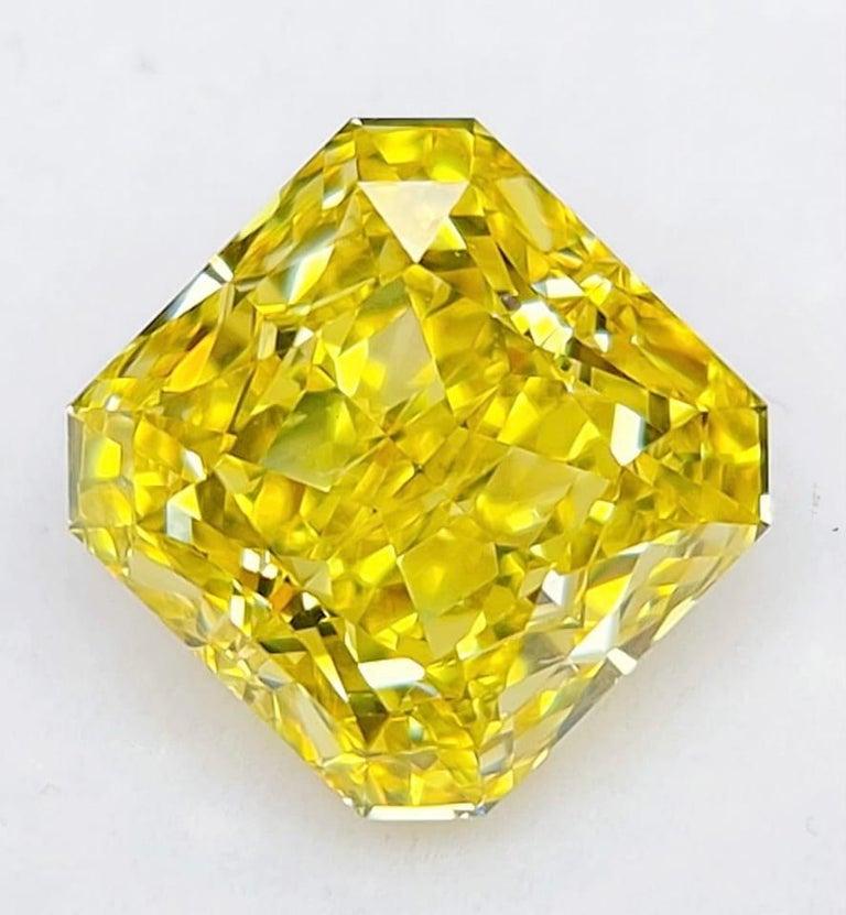 Radiant Cut Emilio Jewelry GIA Certified 7.00 Carat Fancy Vivid Yellow Diamond For Sale