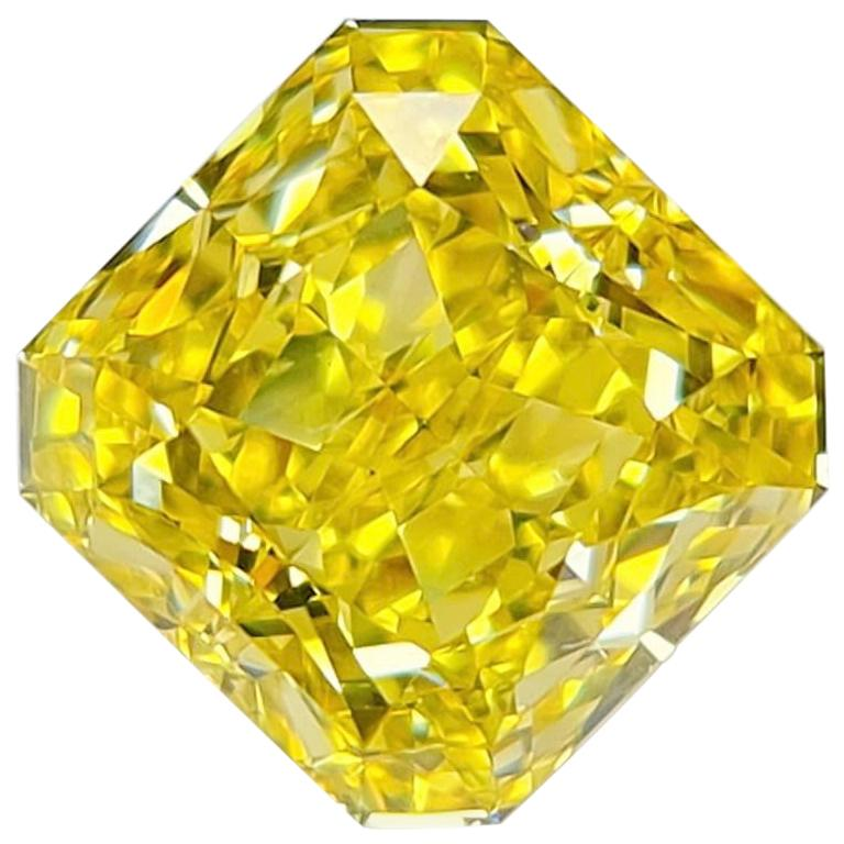 Emilio Jewelry GIA Certified 7.00 Carat Fancy Vivid Yellow Diamond For Sale