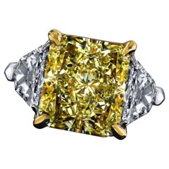 Emilio Jewelry GIA Certified 8.00 Carat Fancy Yellow Diamond Ring