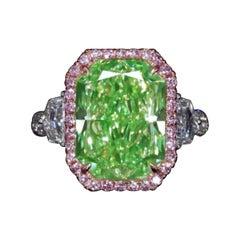 Emilio Jewelry GIA Certified 9.00 Carat Green Diamond Ring