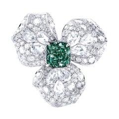 Emilio Jewelry GIA Certified Fancy Deep Pure Green Diamond Ring